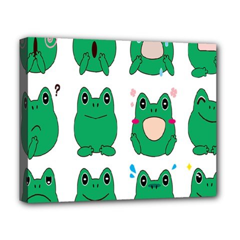 Animals Frog Green Face Mask Smile Cry Cute Deluxe Canvas 20  X 16   by Mariart