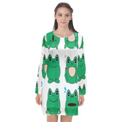 Animals Frog Green Face Mask Smile Cry Cute Long Sleeve Chiffon Shift Dress