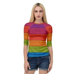 Wooden Plate Color Purple Red Orange Green Blue Quarter Sleeve Tee