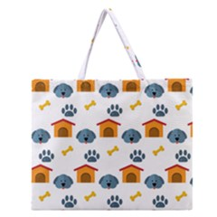 Bone House Face Dog Zipper Large Tote Bag by Mariart