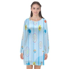 Animals Whale Sunflower Ship Flower Floral Sea Beach Blue Fish Long Sleeve Chiffon Shift Dress
