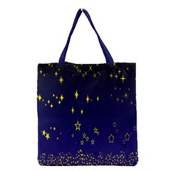 Blue Star Space Galaxy Light Night Grocery Tote Bag by Mariart