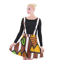 Chocolate Lime Brown Circle Line Plaid Polka Dot Orange Green White Suspender Skater Skirt