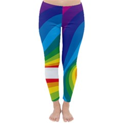 Circle Rainbow Color Hole Rasta Waves Classic Winter Leggings by Mariart