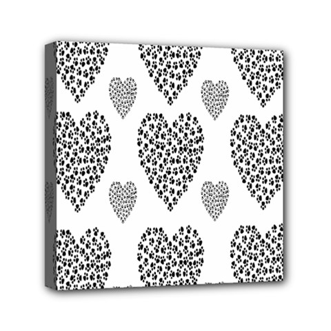 Black Paw Hearts Love Animals Mini Canvas 6  X 6  by Mariart