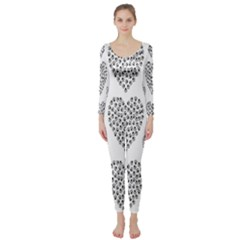 Black Paw Hearts Love Animals Long Sleeve Catsuit by Mariart