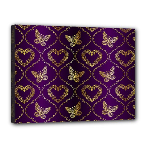 Flower Butterfly Gold Purple Heart Love Canvas 16  X 12  by Mariart
