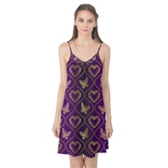 Flower Butterfly Gold Purple Heart Love Camis Nightgown