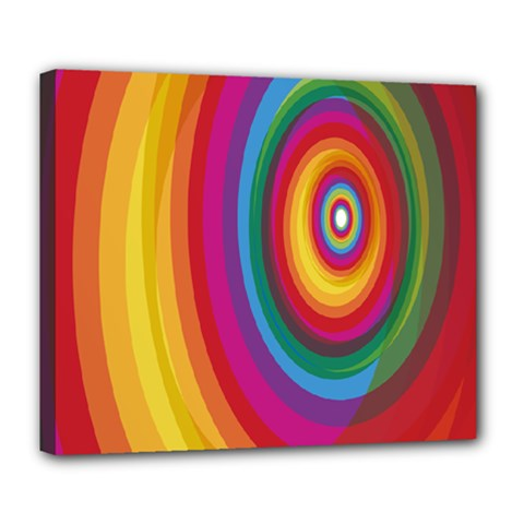Circle Rainbow Color Hole Rasta Deluxe Canvas 24  X 20   by Mariart