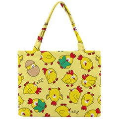 Animals Yellow Chicken Chicks Worm Green Mini Tote Bag by Mariart