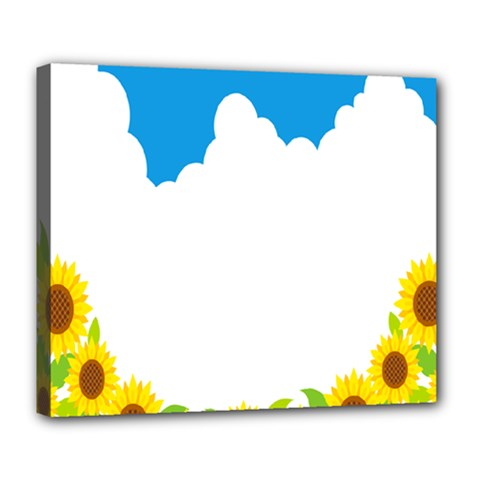 Cloud Blue Sky Sunflower Yellow Green White Deluxe Canvas 24  X 20   by Mariart