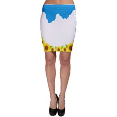 Cloud Blue Sky Sunflower Yellow Green White Bodycon Skirt by Mariart