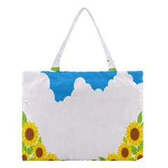 Cloud Blue Sky Sunflower Yellow Green White Medium Tote Bag by Mariart