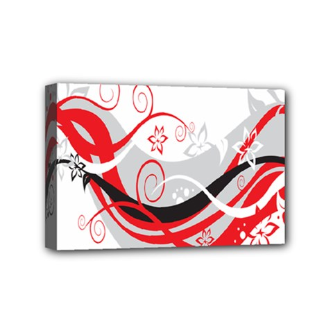 Flower Floral Star Red Wave Mini Canvas 6  X 4  by Mariart