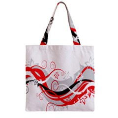 Flower Floral Star Red Wave Zipper Grocery Tote Bag by Mariart