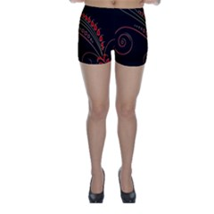 Flower Leaf Red Black Skinny Shorts