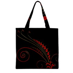 Flower Leaf Red Black Zipper Grocery Tote Bag by Mariart