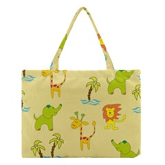 Cute Animals Elephant Giraffe Lion Medium Tote Bag by Mariart