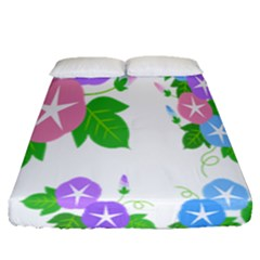 Flower Floral Star Purple Pink Blue Leaf Fitted Sheet (queen Size) by Mariart