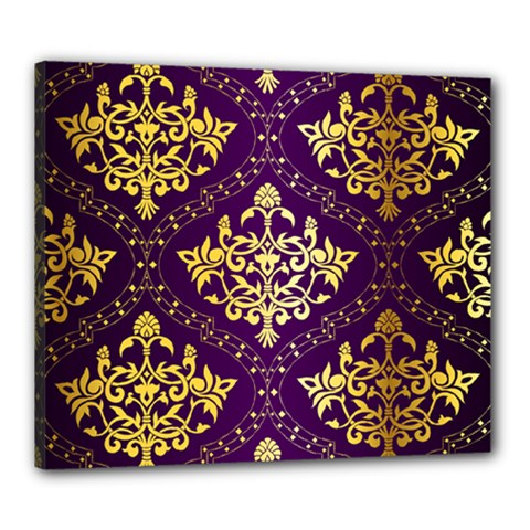 Flower Purplle Gold Canvas 24  X 20  by Mariart