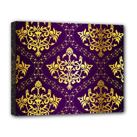 Flower Purplle Gold Deluxe Canvas 20  X 16   by Mariart