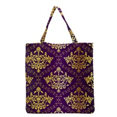Flower Purplle Gold Grocery Tote Bag by Mariart