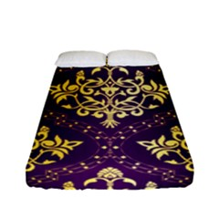 Flower Purplle Gold Fitted Sheet (full/ Double Size) by Mariart