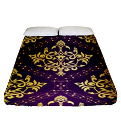Flower Purplle Gold Fitted Sheet (queen Size) by Mariart