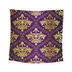 Flower Purplle Gold Square Tapestry (small) by Mariart