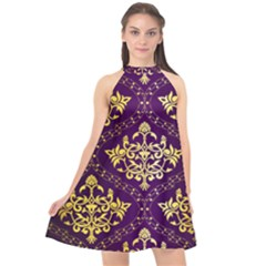 Flower Purplle Gold Halter Neckline Chiffon Dress  by Mariart