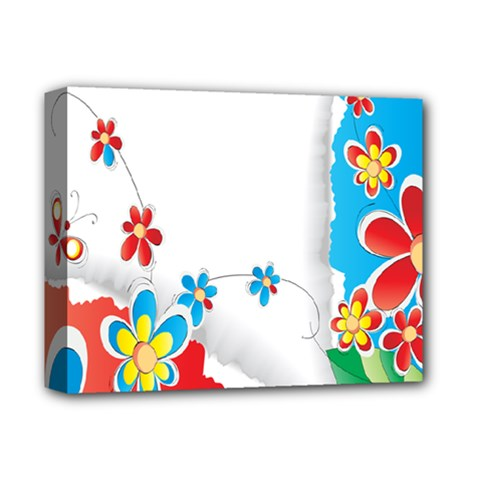 Flower Floral Papper Butterfly Star Sunflower Red Blue Green Leaf Deluxe Canvas 14  X 11  by Mariart