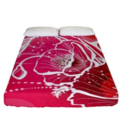 Flower Red Sakura Pink Fitted Sheet (california King Size) by Mariart