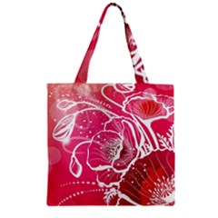 Flower Red Sakura Pink Zipper Grocery Tote Bag by Mariart