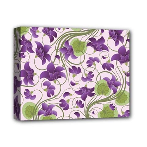 Flower Sakura Star Purple Green Leaf Deluxe Canvas 14  X 11  by Mariart