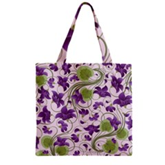 Flower Sakura Star Purple Green Leaf Zipper Grocery Tote Bag by Mariart