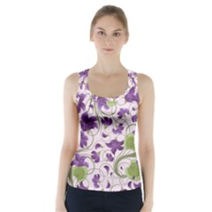 Flower Sakura Star Purple Green Leaf Racer Back Sports Top by Mariart