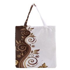 Leaf Brown Butterfly Grocery Tote Bag by Mariart