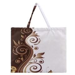 Leaf Brown Butterfly Zipper Large Tote Bag by Mariart