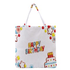 Happy Birthday Grocery Tote Bag by Mariart