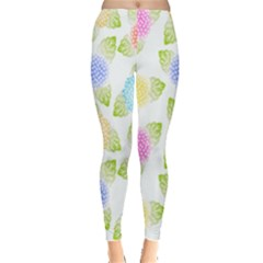 Fruit Grapes Purple Yellow Blue Pink Rainbow Leaf Green Leggings  by Mariart