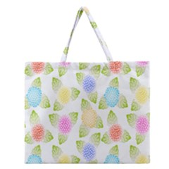 Fruit Grapes Purple Yellow Blue Pink Rainbow Leaf Green Zipper Large Tote Bag by Mariart