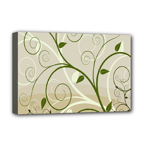 Leaf Sexy Green Gray Deluxe Canvas 18  X 12   by Mariart