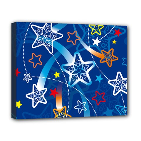 Line Star Space Blue Sky Light Rainbow Red Orange White Yellow Deluxe Canvas 20  X 16   by Mariart