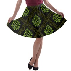 Leaf Green A Line Skater Skirt by Mariart