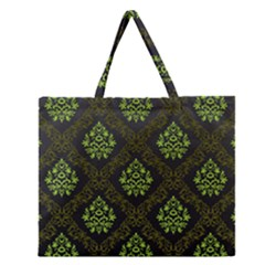 Leaf Green Zipper Large Tote Bag by Mariart