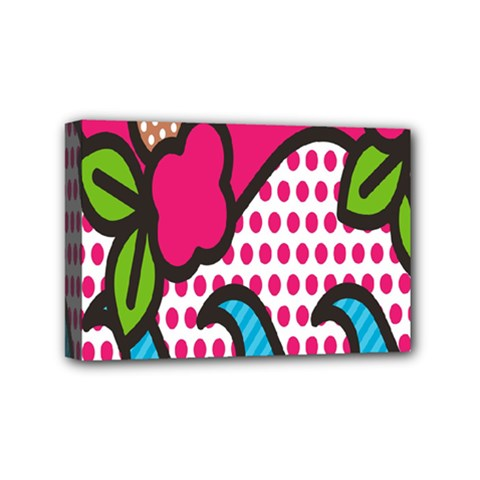 Rose Floral Circle Line Polka Dot Leaf Pink Blue Green Mini Canvas 6  X 4  by Mariart