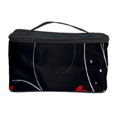 Star Red Flower Floral Black Leaf Polka Circle Cosmetic Storage Case by Mariart