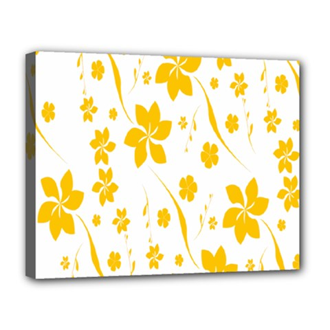 Shamrock Yellow Star Flower Floral Star Canvas 14  X 11  by Mariart