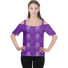 Purple Flower Rose Sunflower Women s Cutout Shoulder Tee by Mariart