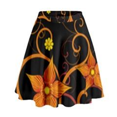 Star Leaf Orange Gold Red Black Flower Floral High Waist Skirt by Mariart